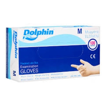 Dolphin Latex Pudralı Eldiven Medium Mavi 100'lü Paket