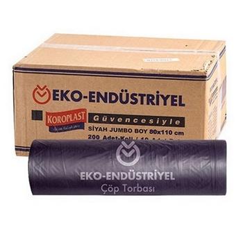 Koroplast Eko Endüstriyel Çöp Torbası Jumbo 80 x 110 cm Siyah 20'li Koli