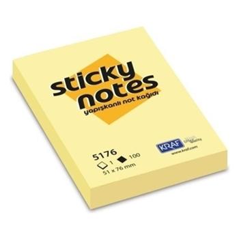 Kraf Yapışkanlı Not Kağıdı 51 mm x 76 mm Sarı 100 Yaprak