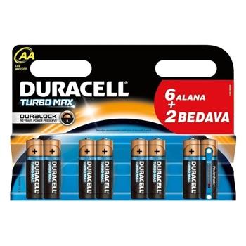 Duracell Turbo Max Alkalin AA Kalem Pil Ekonomik 6+2'li Paket