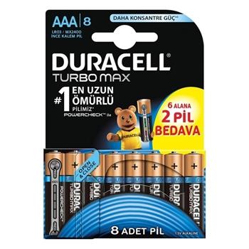 Duracell Turbo Max Alkalin AAA İnce Kalem Pil Ekonomik 6+2'li Paket