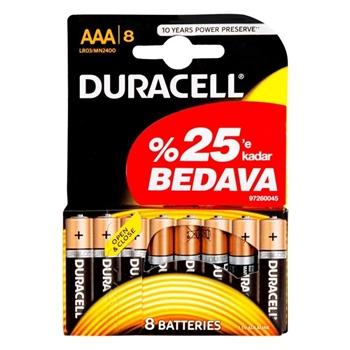 Duracell Alkalin AAA İnce Kalem Pil Ekonomik 6+2'li Paket