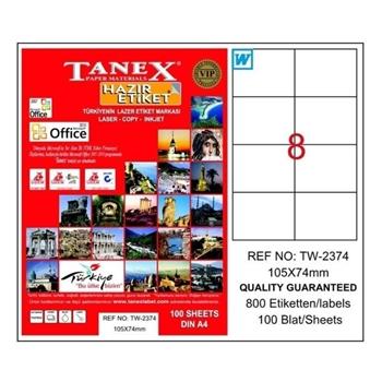 Tanex TW-2374 Lazer Etiket 105 mm x 74.25 mm Beyaz 100 Sayfa