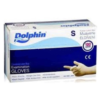Dolphin Latex Pudralı Eldiven Small Mavi 100'lü Paket