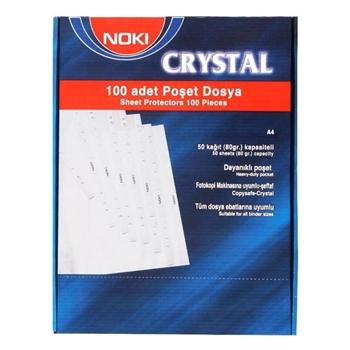 Noki 4830 CR Kristal Poşet Dosya Şeffaf 100'lü Paket