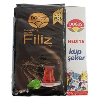 Doğuş Karadeniz Siyah Filiz No:53 Dökme Çay 1000 gr  + Doğuş Tek Sargılı Şeker 300 gr Hediye