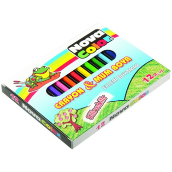 Nova Color Mum Karton Kutu Kısa Köşeli Pastel Boya 12 Renk