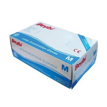 Beybi Latex Pudralı Eldiven M Beyaz 100'lü Paket
