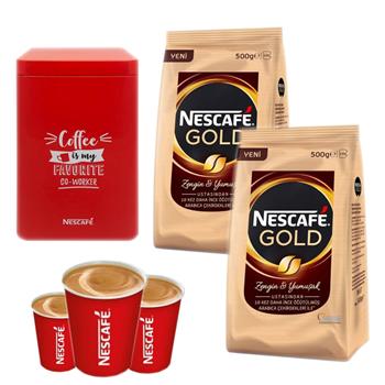 Nescafe Gold 2'li Ekopaket Kahve 500 gr 100'lü Karton Bardak + Teneke kutu Hediyeli