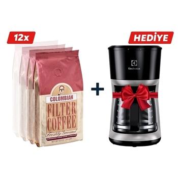 Mehmet Efendi Colombian Filtre Kahve 12x250 gr Elektrolux Ekf 3300 Kahve Makinesi Hediyeli