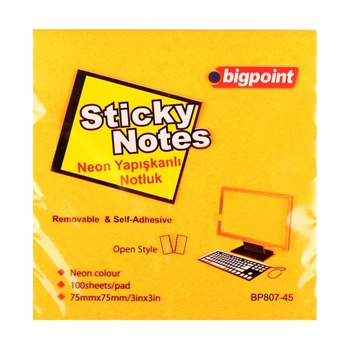 Bigpoint  Yapışkanlı Not  75x75 mm Neon Turuncu