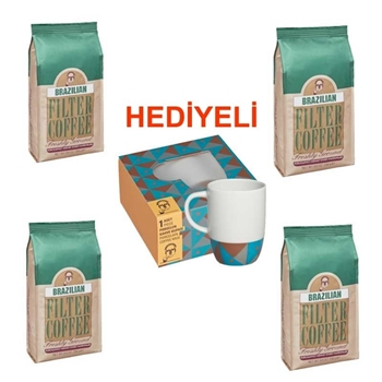 Mehmet Efendi Brazilian Filtre Kahve 250 gr 4'lü (Kupa Hediyeli)