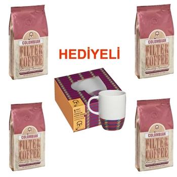 Mehmet Efendi Colombian Filtre Kahve 250 gr 4'lü (Kupa Hediyeli)