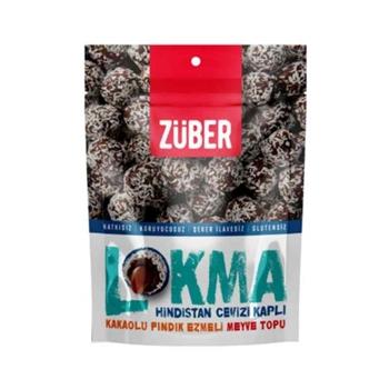 Züber Lokma Hindistan Cevizi Kaplı Kakaolu Fındık Ezmeli Meyve Topu 96 gr 6'lı