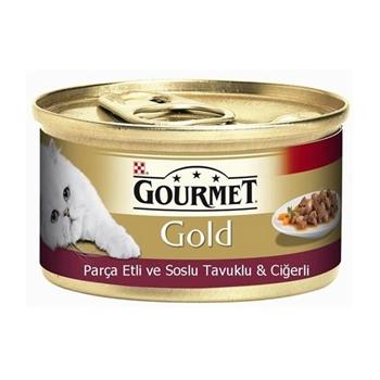Gourmet Gold Parça Etli Soslu Tavuklu ve Ciğerli 85 gr x 24'lü Paket Yetişkin Kedi Konservesi