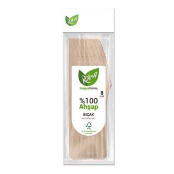 Roll-Up Kullan-At Doğaya Dönüş %100 Ahşap Bıçak 8'li