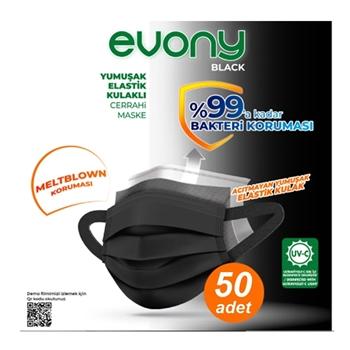 Evony Black 3 Katlı Yumuşak Elastik Kulaklı Siyah 10'lu 5 Paket Cerrahi Maske