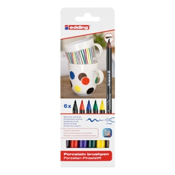 Edding E-4200 Porselen Boyama Kalem Seti 6'lı