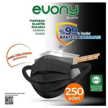 Evony Siyah 3 Katlı Yumuşak Elastik Kulaklı Siyah 10'lu 25 Paket Cerrahi Maske