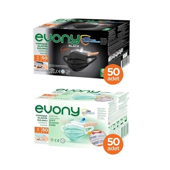 Evony Siyah Elastik Kulaklı Maske 50 Adet + Evony Yeşil Elastik Kulaklı Maske 50 Adet