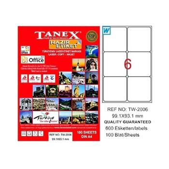 Tanex TW-2006 Lazer Etiket 99.1 mm x 93.1 mm Beyaz 100 Sayfa