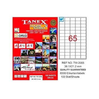 Tanex TW-2065 Lazer Etiket 38.1 mm x 21.2 mm Beyaz 100 Sayfa