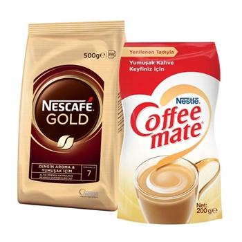 Nescafe Gold Eko Paket Kahve 500 gr + Coffee Mate Kahve Kreması 200 gr Hediyeli