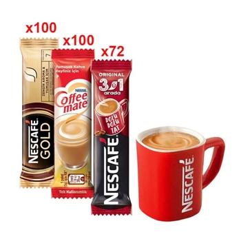 Nescafe Gold 2 gr 100'lü + Coffee-Mate 5 gr 100'lü + Nescafe 3'ü 1 Arada 72'li +  Alana Nescafe Kırmızı Fincan Hediye