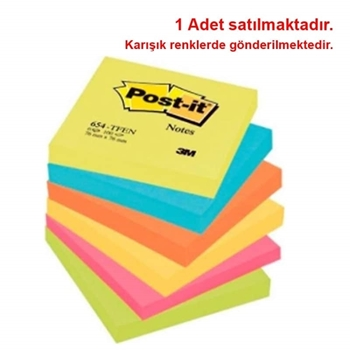 3M Post-it 654-TFEN Yapışkanlı Not Kağıdı 76 mm x 76 mm Renkli 100 Yaprak